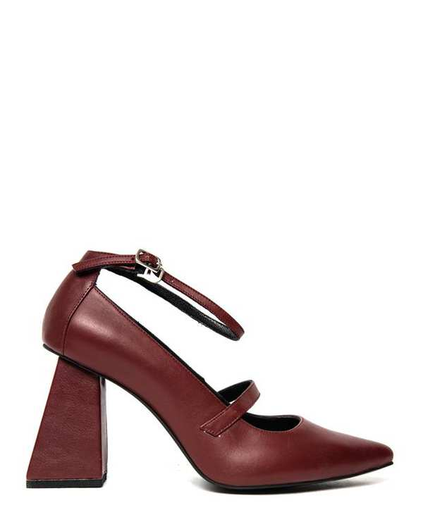 کفش چرم زنانه پاشنه بلند مری زرشکی آرتمن