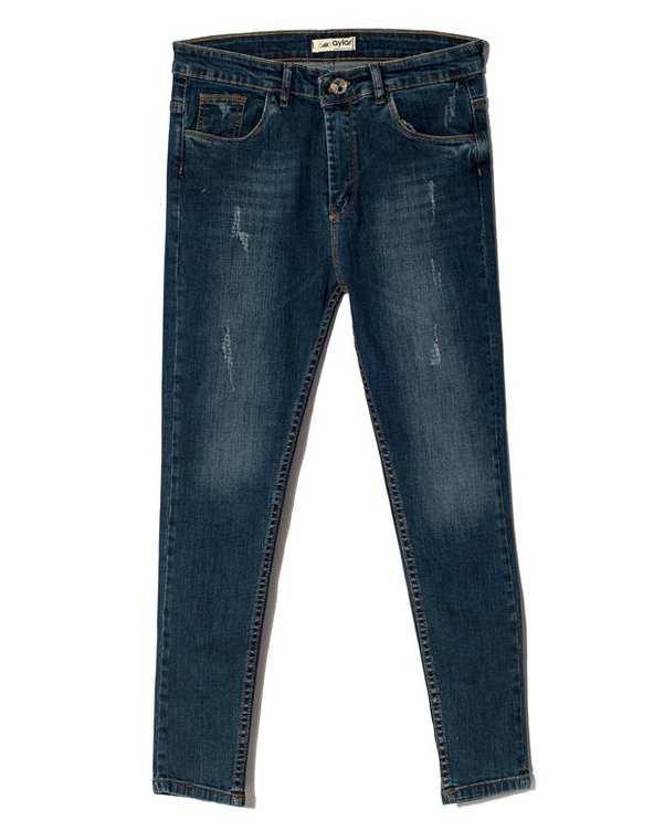 شلوار زنانه جین چسبان زاپ دار آبی آیلار