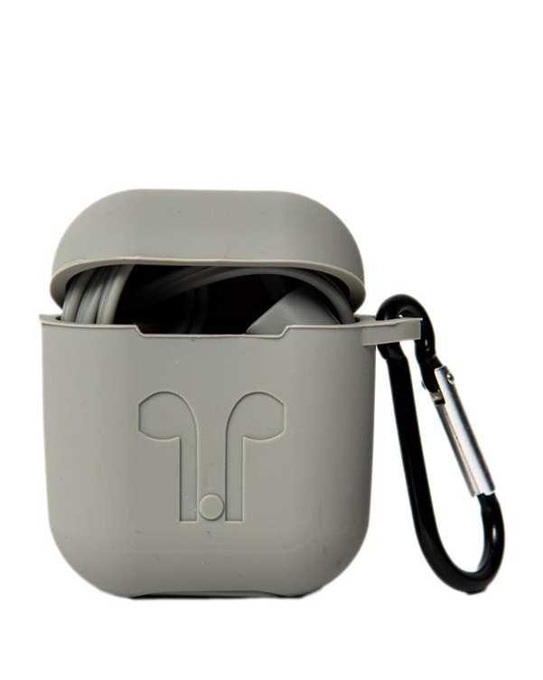 محافظ سیلیکونی با بند نگهدارنده مناسب کیس AirPods طوسی
