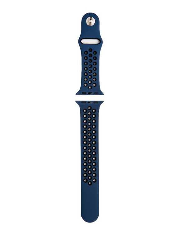 بند سیلیکونی آبی مشکی طرح Nike مناسب اپل واچ 42/44 میلی متری