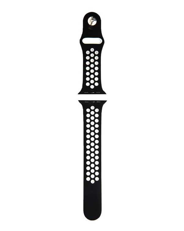 بند سیلیکونی مشکی سفید طرحNike مناسب اپل واچ 38/40 میلی متری