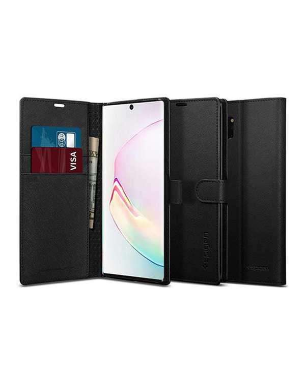 قاب کلاسوری سامسونگ مدل Wallet S مشکی Galaxy Note 10 اسپیگن