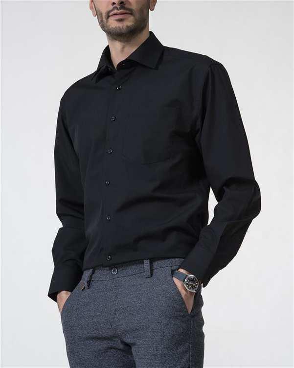 پیراهن مردانه نخی مشکی Caldo Vita زاگرس پوش