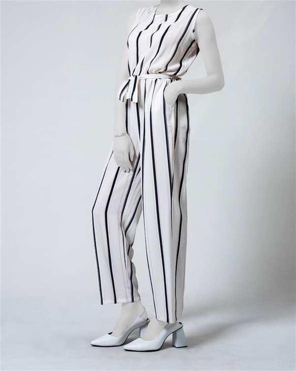سرهمی زنانه آستین حلقه ای سفید سرمه ای راه راه آیلار