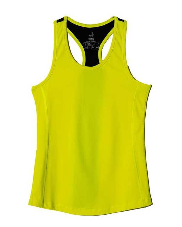 تاپ زنانه فلامنت ورزشی زرد نئونی مشکی RNS