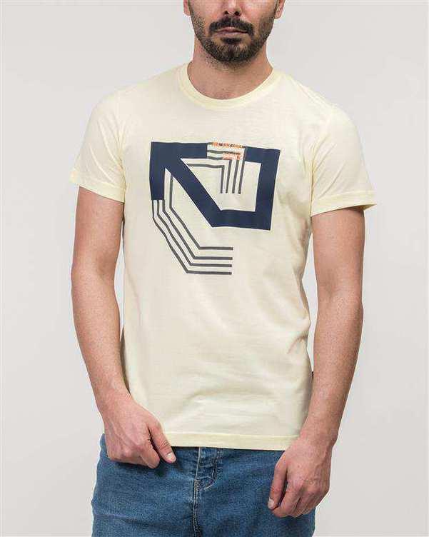 تی شرت مردانه نخی یقه گرد لیمویی JPA