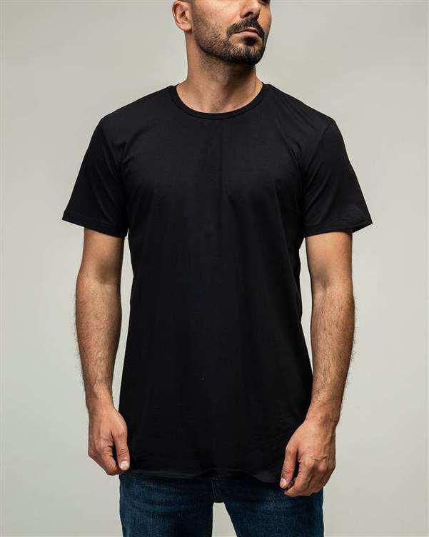 تی شرت مردانه لانگ یقه گرد نخی مشکی ManTen
