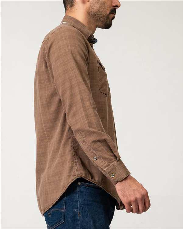 پیراهن مردانه سنگ شور قهوه ای چهارخانه Ebra