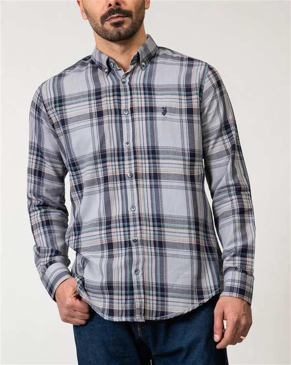 پیراهن مردانه طوسی سرمه ای چهارخانه Ebra