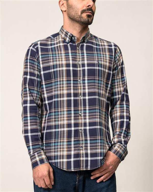پیراهن مردانه سرمه ای خاکی چهارخانه Ebra