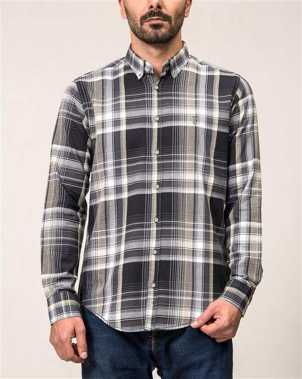 پیراهن مردانه زغالی لیمویی چهارخانه Ebra