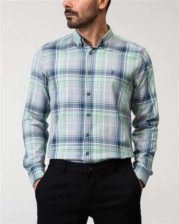 پیراهن مردانه طوسی سبز چهارخانه Ebra