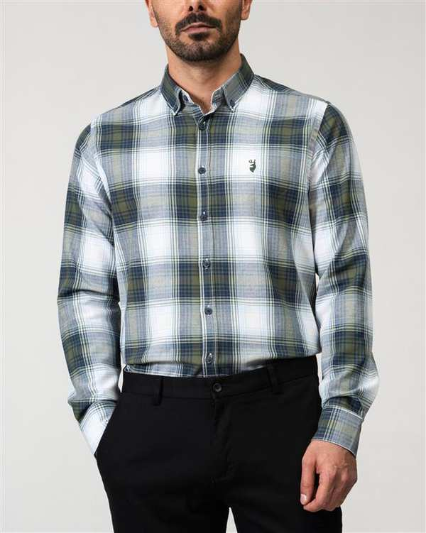 پیراهن مردانه نخی سفید سبز چهارخانه Ebra