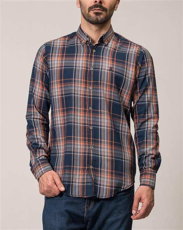 پیراهن مردانه سرمه ای نارنجی چهارخانه Ebra