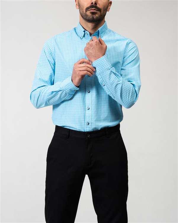 پیراهن مردانه آبی چهارخانه Ebra