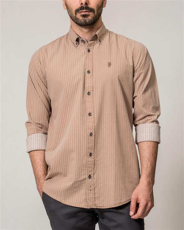پیراهن مردانه قهوه ای راه راه Ebra