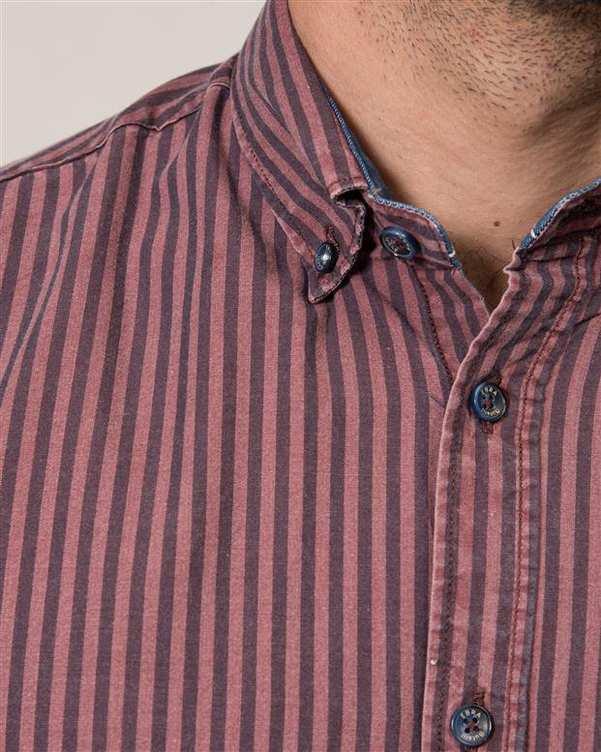 پیراهن مردانه زرشکی سرمه ای راه راه Ebra
