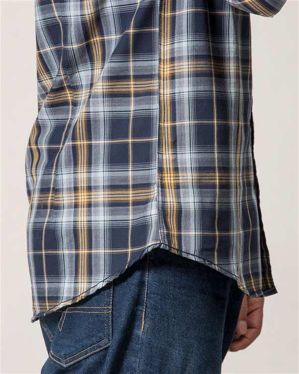 پیراهن مردانه نخی سرمه ای زرد چهارخانه Ebra