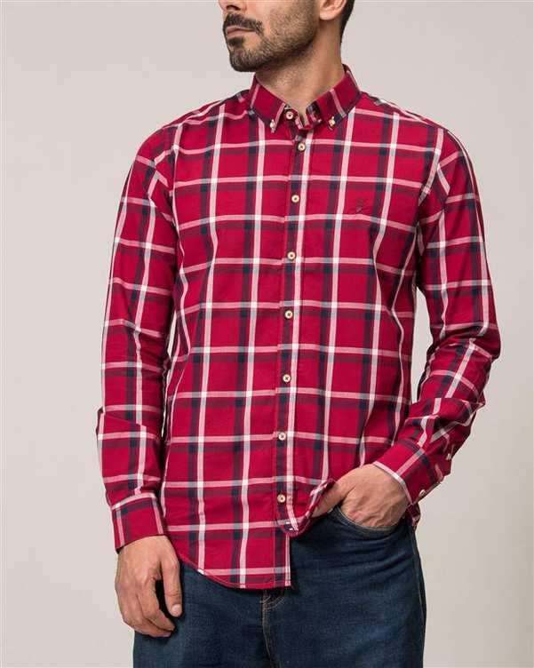 پیراهن مردانه قرمز چهارخانه Ebra