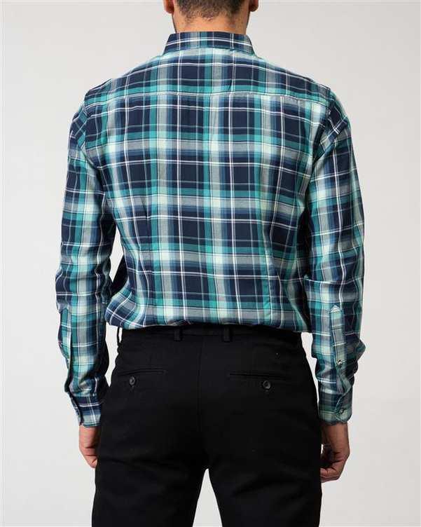 پیراهن مردانه سبز سرمه ای چهارخانه Ebra