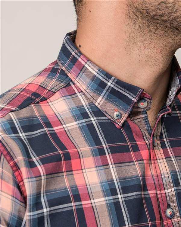 پیراهن مردانه صورتی سرمه ای چهارخانه Ebra
