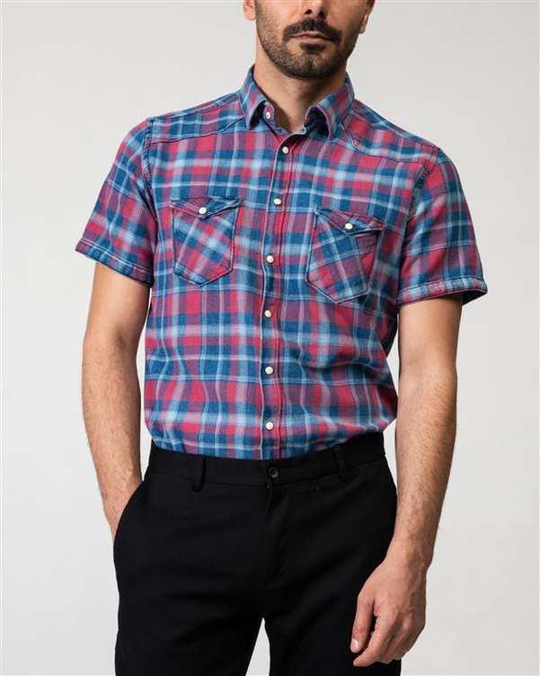 پیراهن مردانه جین آستین کوتاه قرمز سرمه ای چهارخانه Ebra