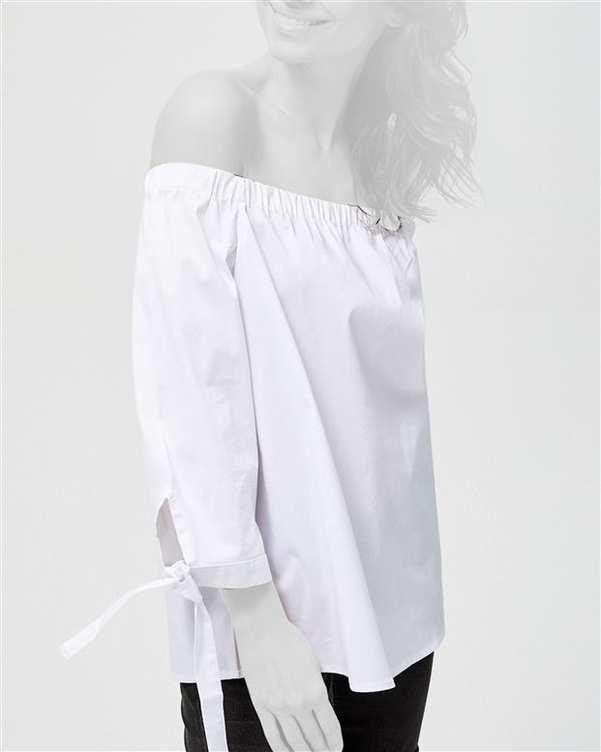 بلوز زنانه آف شولدر سفید مودو