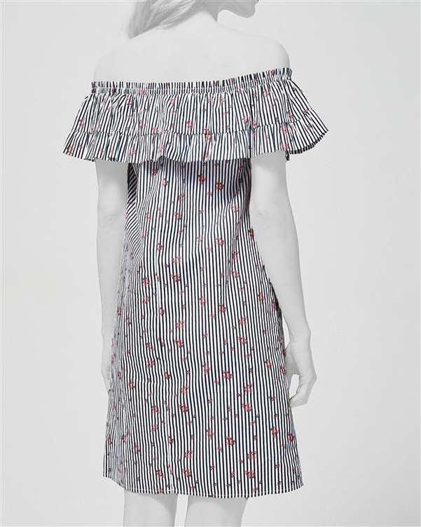 پیراهن زنانه آف شولدر نخی راه راه مشکی مودو