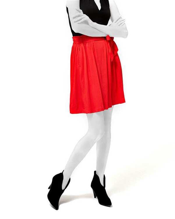 دامن زنانه کوتاه نخی قرمز مودو
