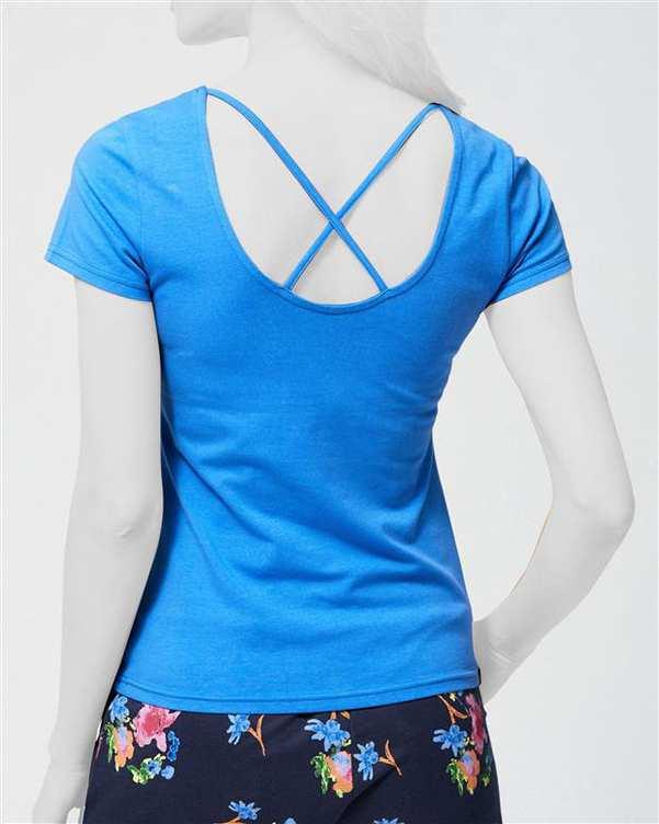 تی شرت زنانه نخی یقه گرد آبی مودو