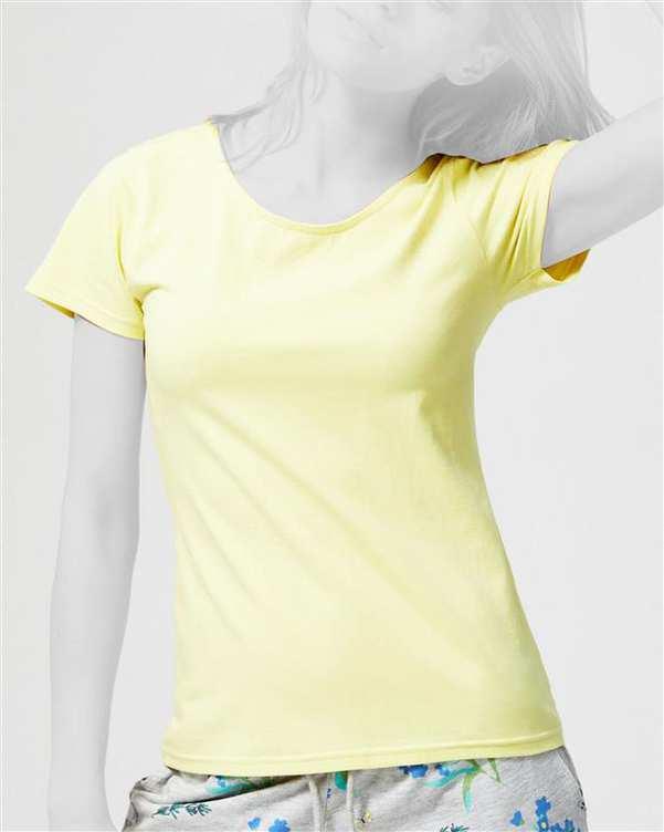 تی شرت زنانه پشت بندی زرد مودو