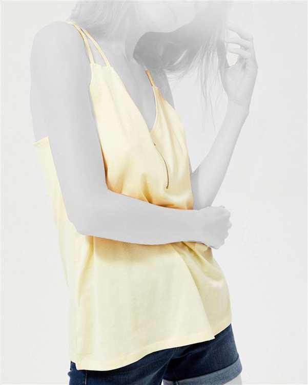 تاپ زنانه بندی یقه هفت زرد مودو
