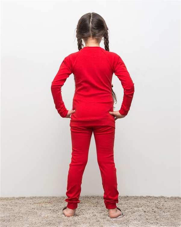 ست تی شرت و شلوار دخترانه نخی چری قرمز مادر