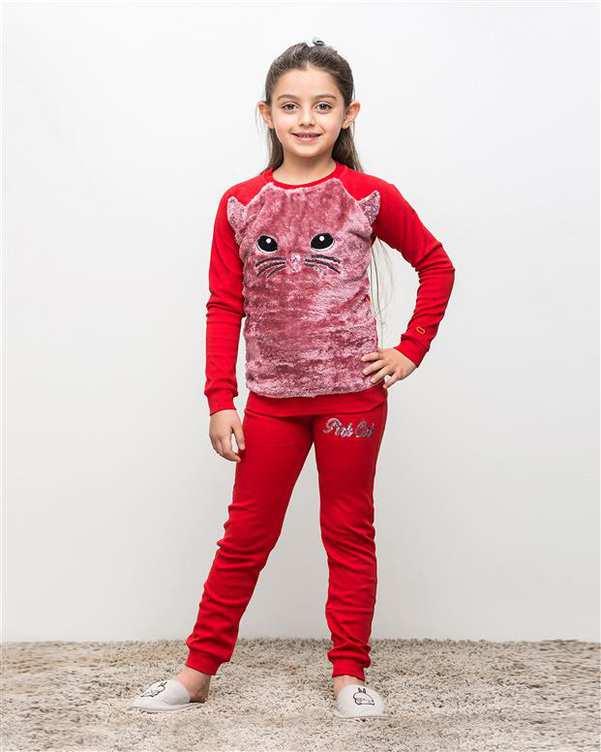 ست تی شرت و شلوار دخترانه نخی لاریسا قرمز مادر