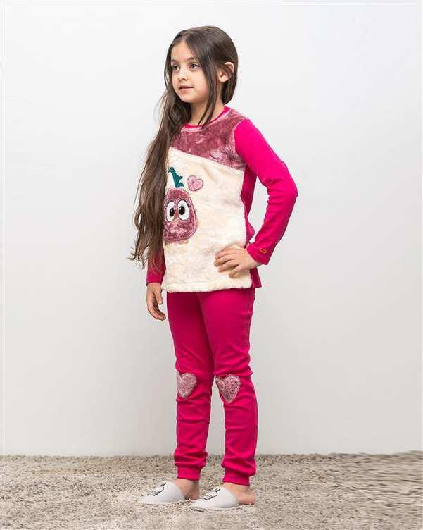 ست تی شرت و شلوار دخترانه نخی تیمانا سرخابی مادر