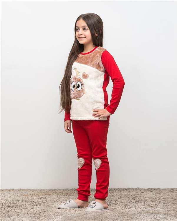 ست تی شرت و شلوار دخترانه نخی تیمانا قرمز مادر
