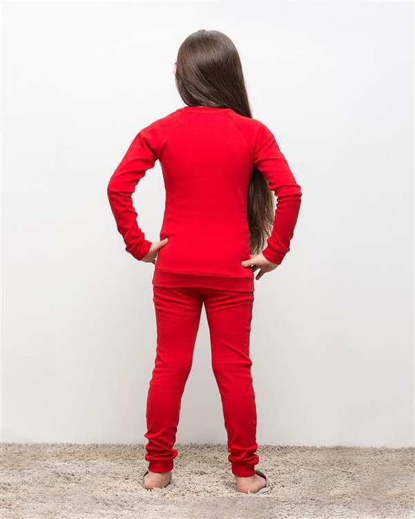 ست تی شرت و شلوار دخترانه نخی ویتارا قرمز مادر