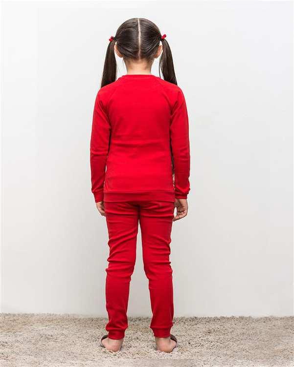 ست تی شرت و شلوار دخترانه نخی تامینا قرمز مادر