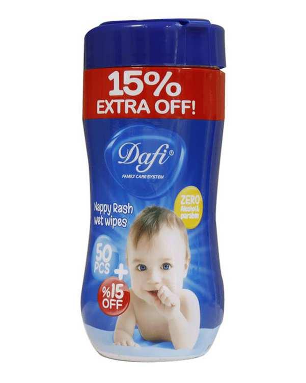 دستمال مرطوب پاک کننده کودک مناسب سوختگی 50 برگ دافی