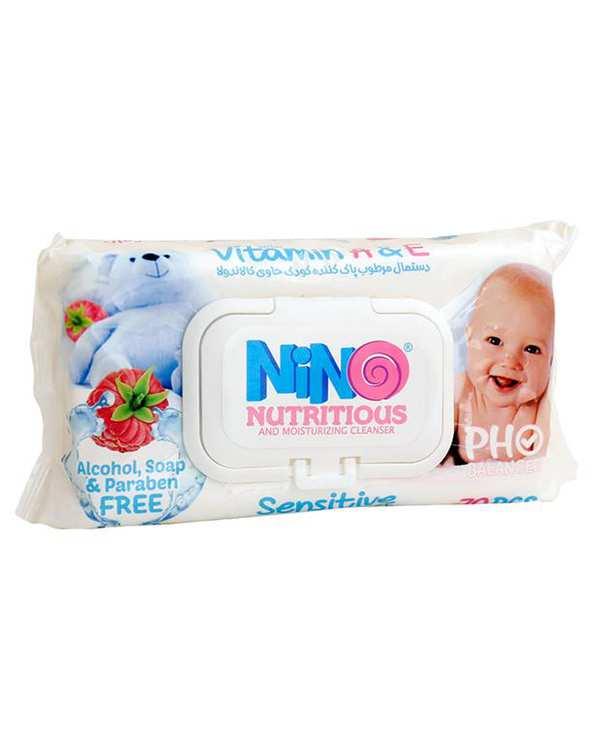 دستمال مرطوب مخصوص کودک 70 برگ نینو
