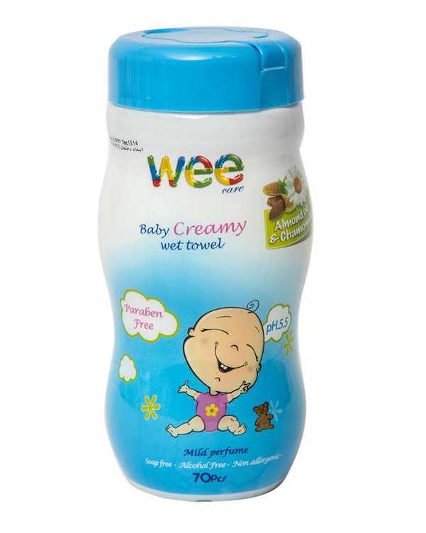 دستمال مرطوب و معطر کرمی کودک 70 برگ Wee Care