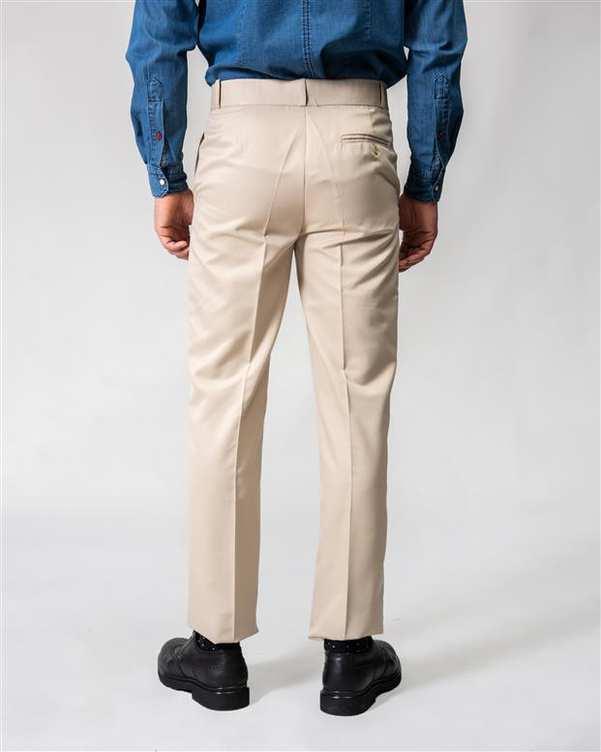 شلوار مردانه راسته پارچه ای کرم Swayam