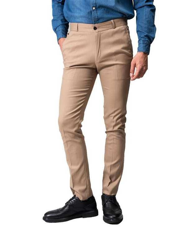 شلوار مردانه راسته پارچه ای نسکافه ای Swayam