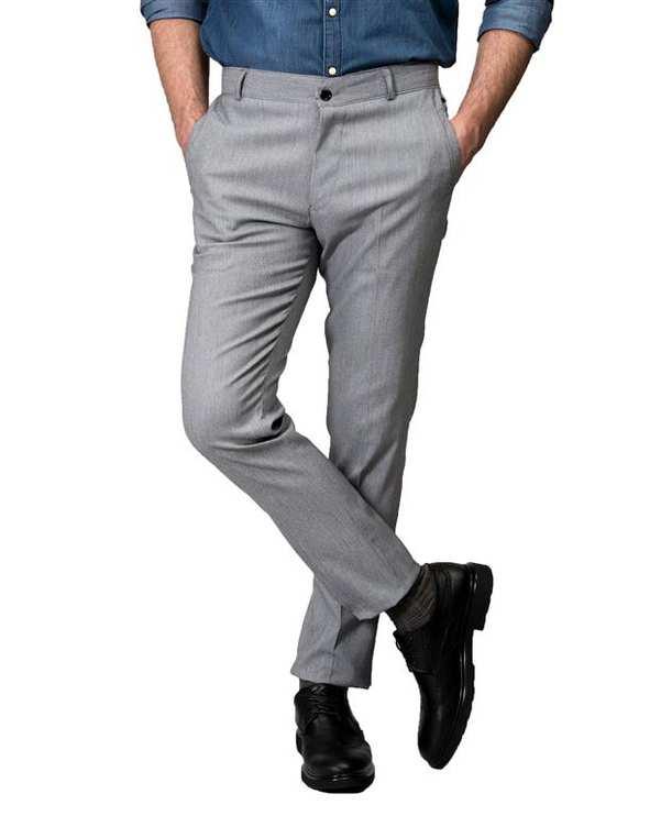 شلوار مردانه راسته پارچه ای طوسی Swayam