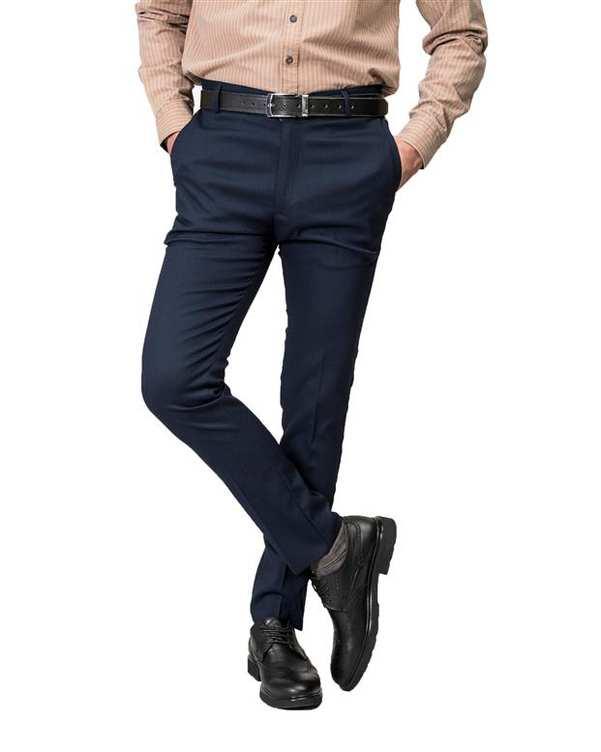 شلوار مردانه راسته پارچه ای سرمه ای Swayam