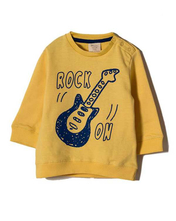 سویشرت پسرانه نوزادی نخی جلو بسته زرد Zippy