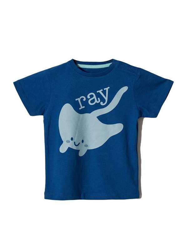 تی شرت پسرانه نخی یقه گرد آبی تیره Zippy