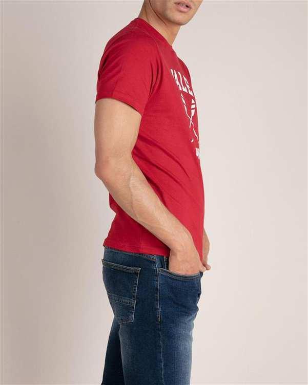 تی شرت مردانه نخی یقه گرد قرمز MO