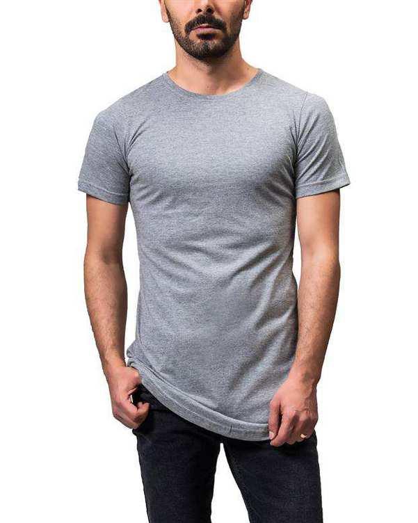 تی شرت مردانه لانگ یقه گرد نخی طوسی Sora