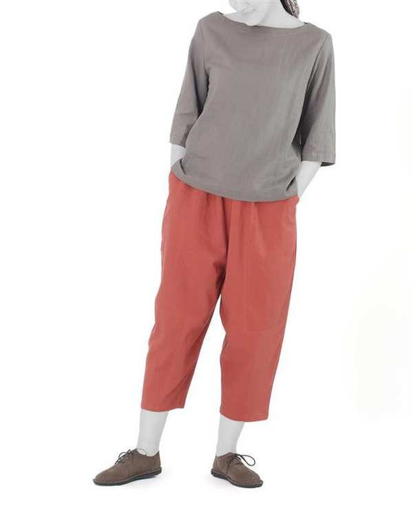 شلوار زنانه کوتاه خمره ای مدل جو آجری Hito Style